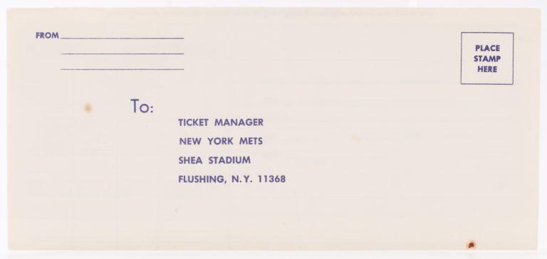 Vintage Mets Ticket Gift Certificate Order Form