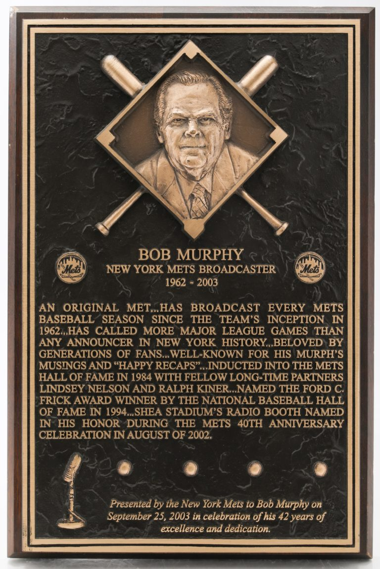 Plaque Honoring Bob Murphy for 42 Years of Broadcasting