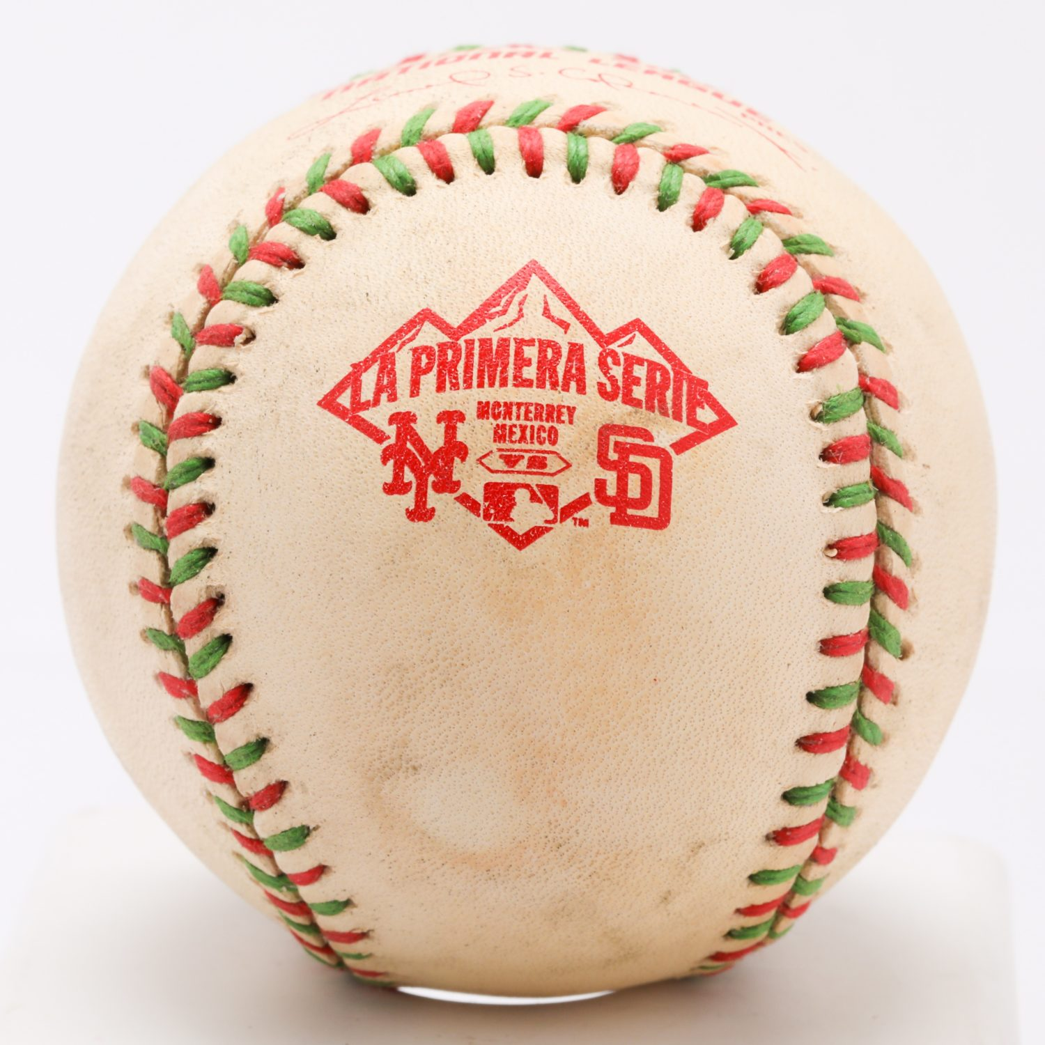 Baseball with Red and Green Stitching Used in La Primera Serie
