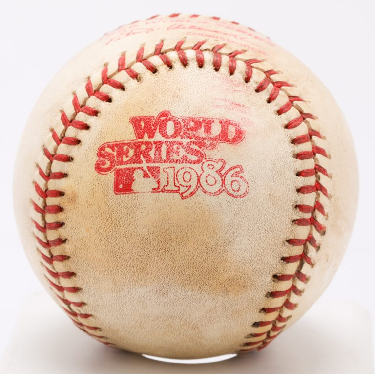 1986 World Series Game-Used Ball with World Series Logo Shown