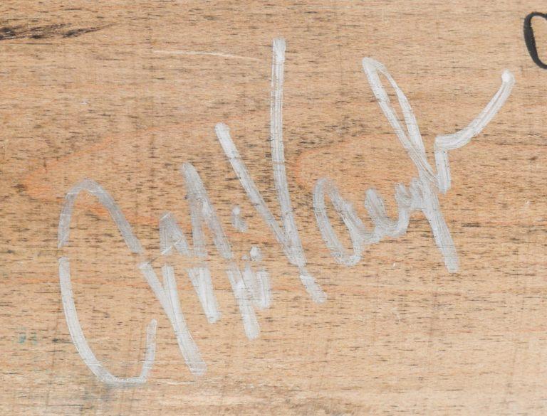 Mo Vaughn Cracked Autographed Baseball Bat - Autograph Detail