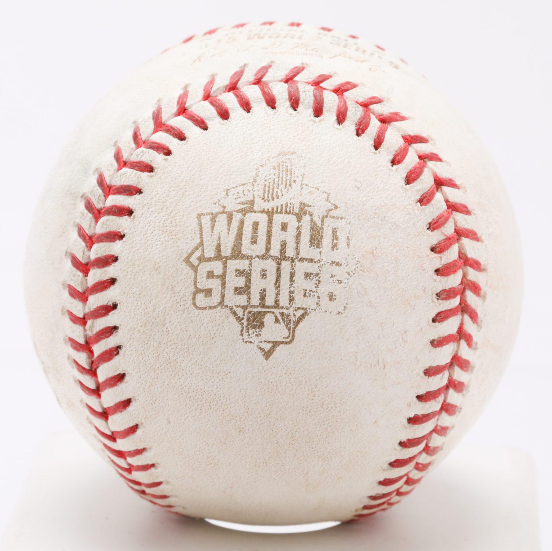 2015 World Series Game 3-Used Ball - World Series Logo