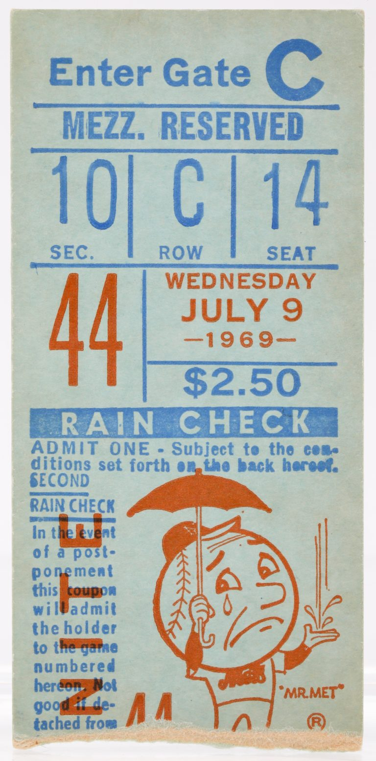 Ticket Stub from Tom Seavers Almost No-Hitter