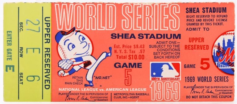Upper Deck Ticket From Game 5 of 1969 World Series