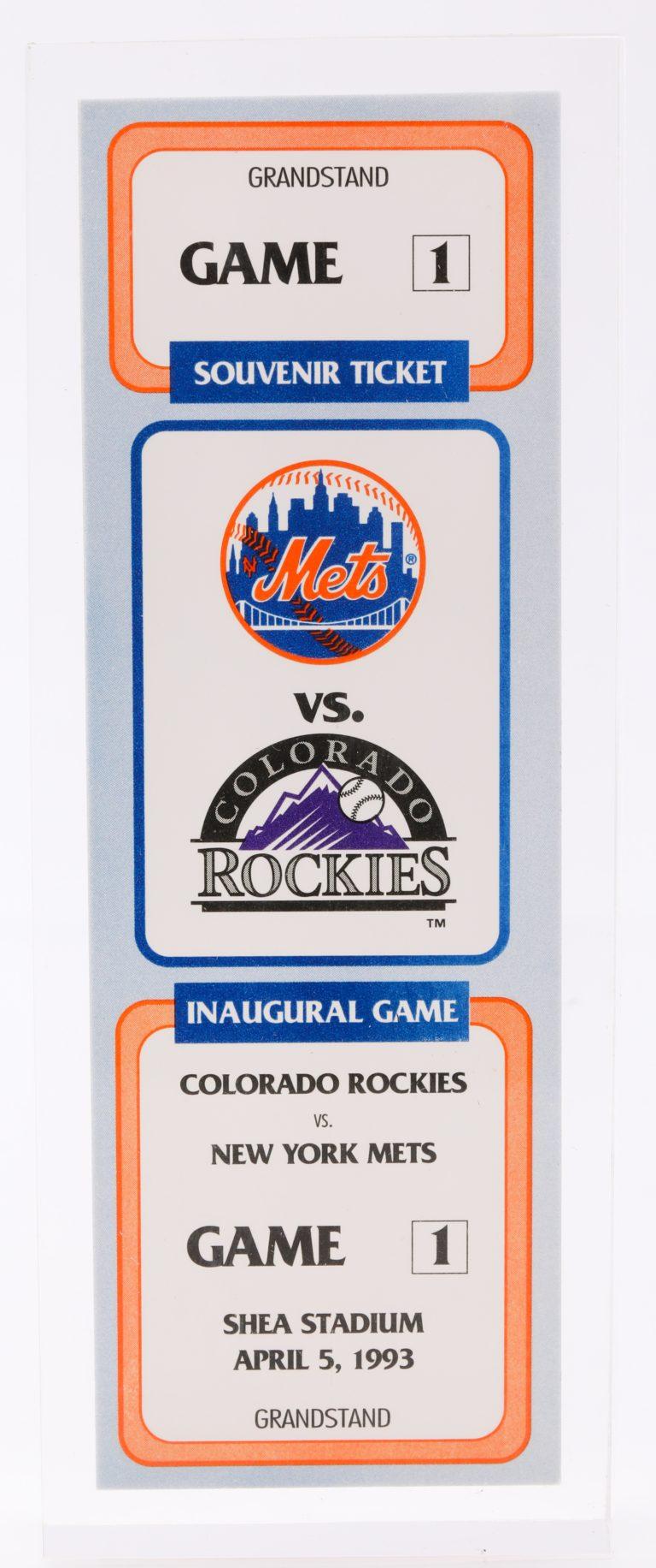 Encased Souvenir Ticket to Inaugural Rockies vs. Mets Game