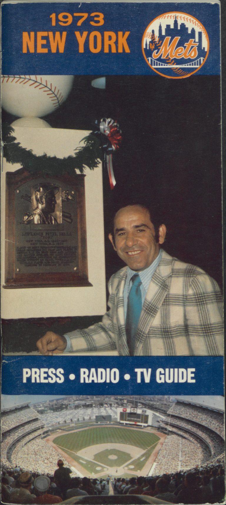 1973 Mets Press-Radio-TV Guide: Yogi in HOF