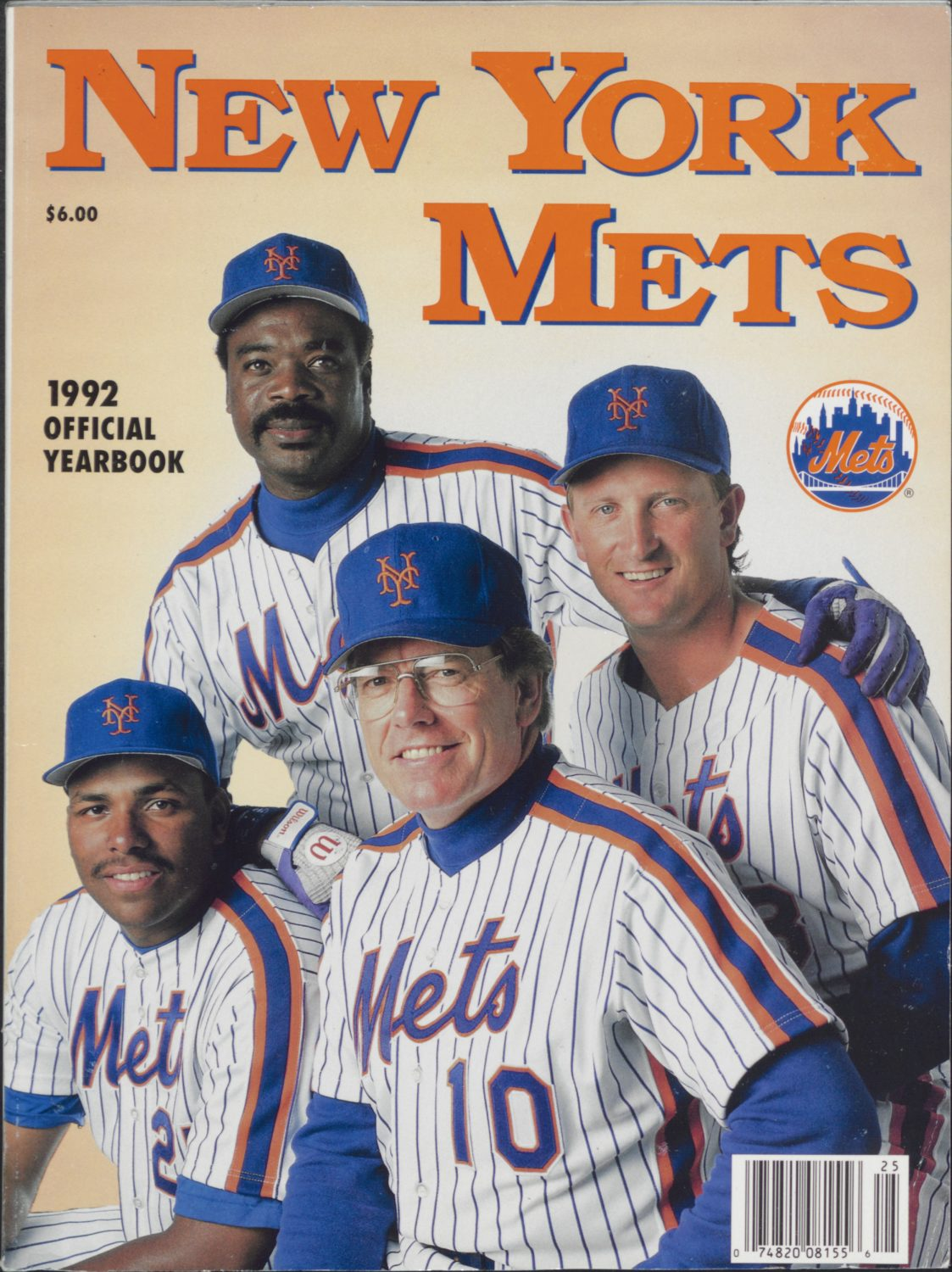 Cover of 1992 Mets Yearbook with Jeff Torborg, Bobby Bonilla, Bret Saberhagen and Eddie Murray