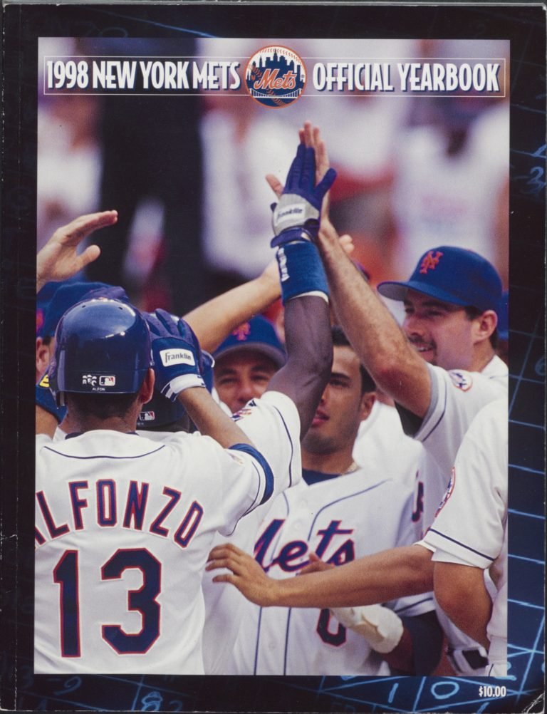 1998 Mets Yearbook With Mets Players Celebrating on Cover