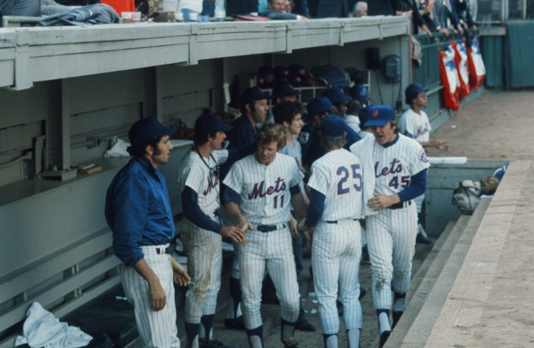 Photo of Mets in the Dugout During 1973 NLCS