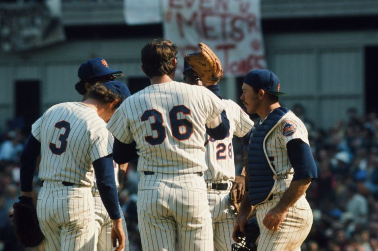 Mets Talk on Mound in 1973 NLCS