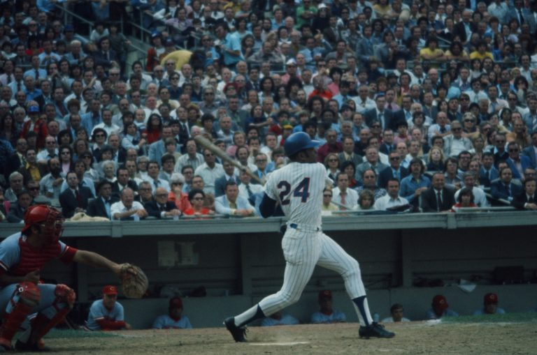 Willie Mays Hits a Pitch During Game 5 of 1973 NLCS