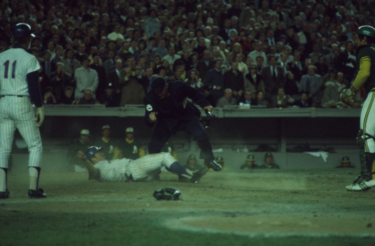 Grote Slides Into Home in 1973 World Series