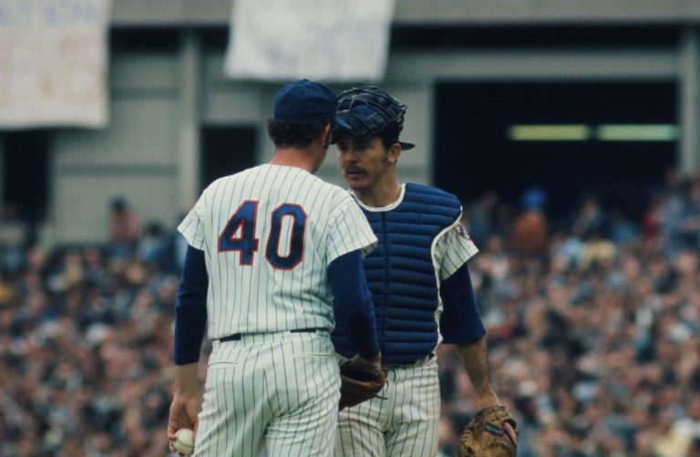George Stone and Jerry Grote Chat in 1973 NLCS