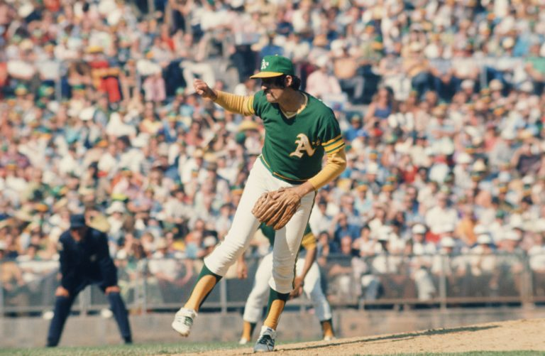Oakland Athletics Reliever Rollie Fingers Pitching in 1973 World Series