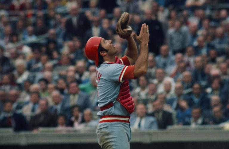 Johnny Bench Catches Pop Up During 1973 NLCS