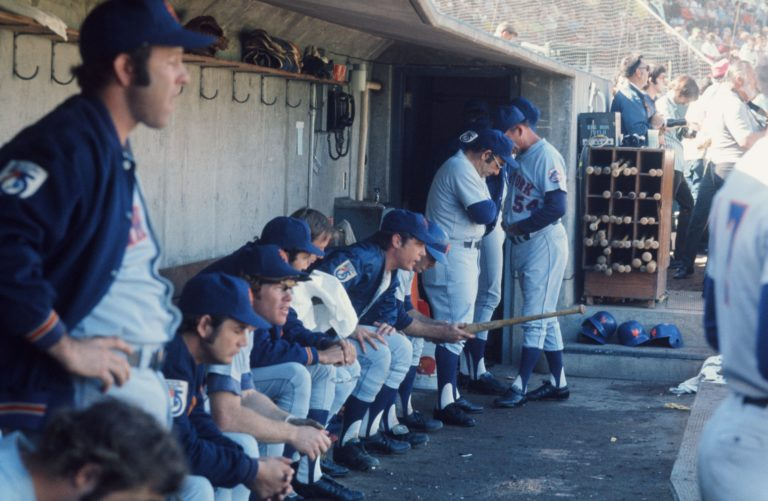 Mets in the Dugout in 1973 World Series