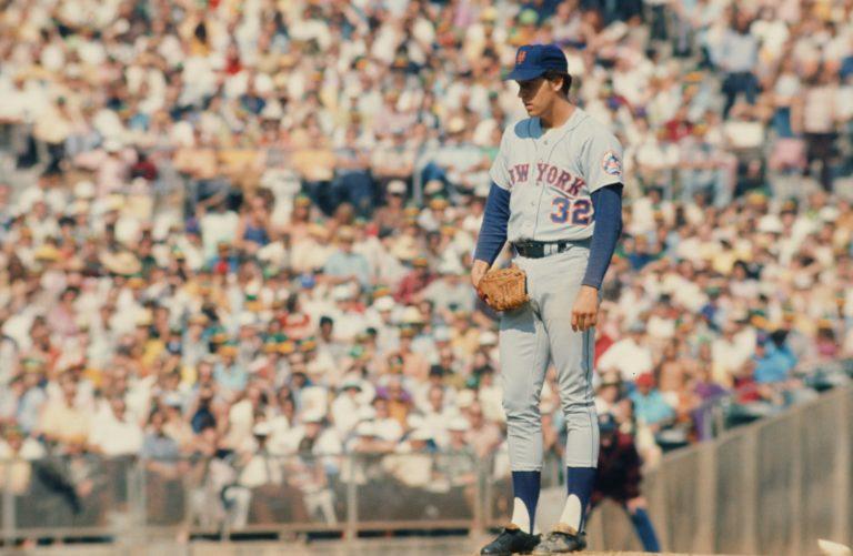 Jon Matlack Stares Down Batter in 1973 World Series