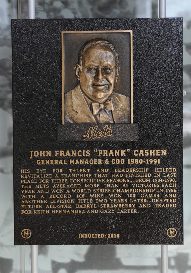 Frank Cashen Mets Hall of Fame Plaque