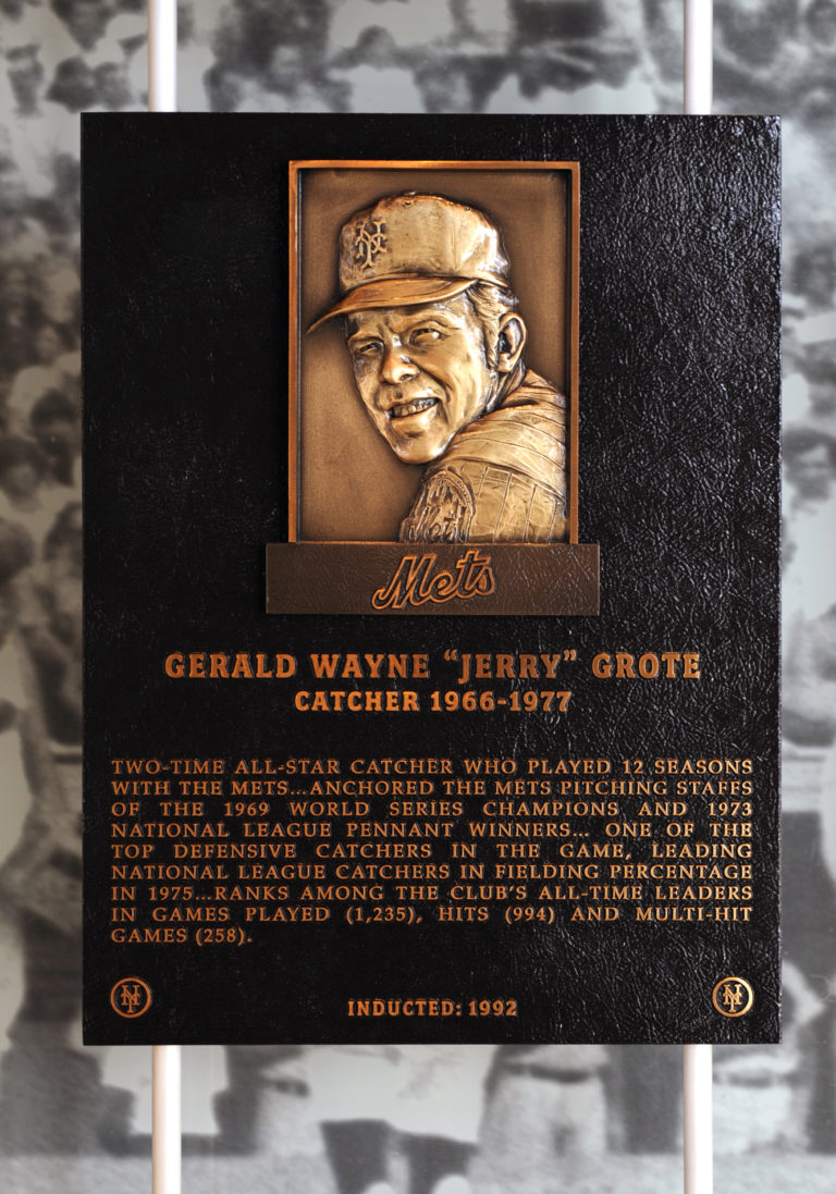 Jerry Grote Mets Hall of Fame Plaque