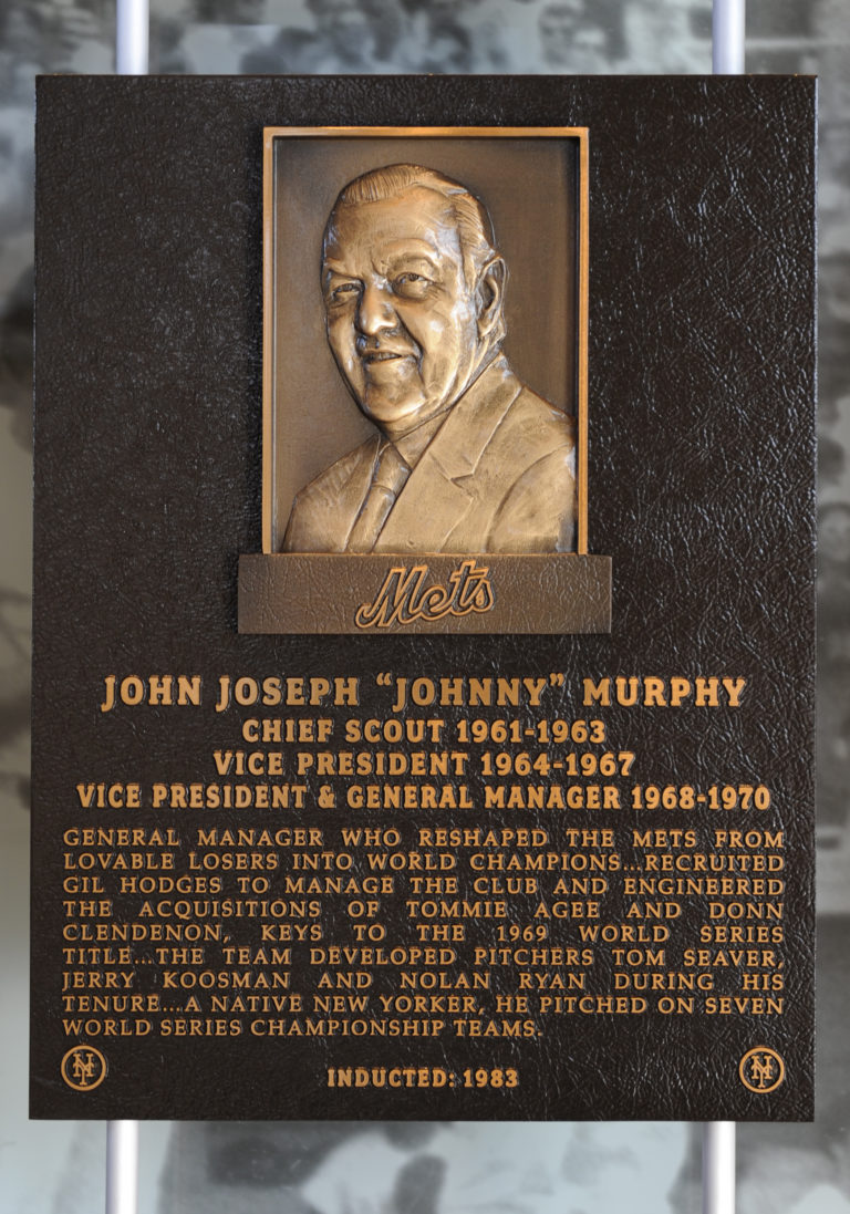 Johnny Murphy Mets Hall of Fame Plaque