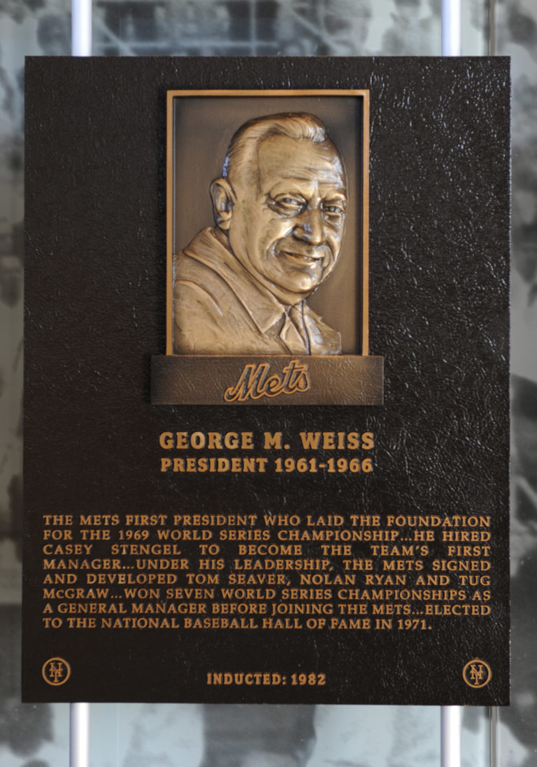 George Weiss Mets Hall of Fame Plaque