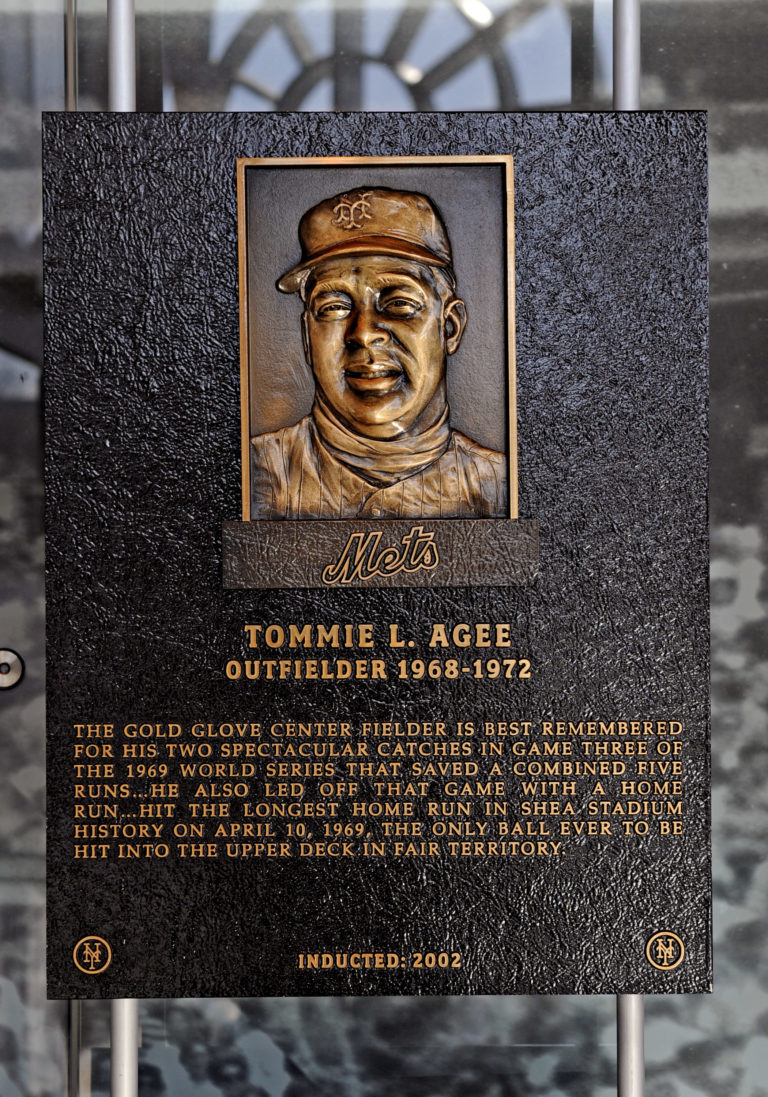 Tommie Agee Mets Hall of Fame Plaque