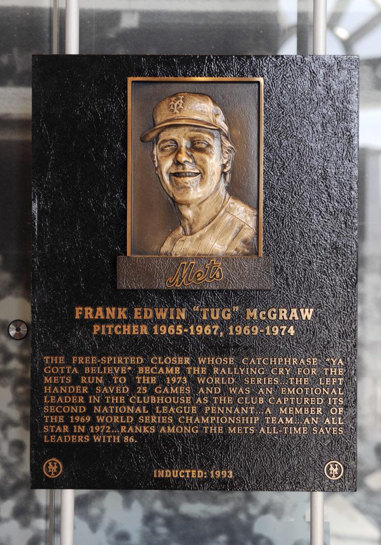 Tug McGraw Mets Hall of Fame Plaque