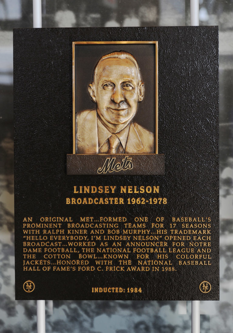 Lindsay Nelson Mets Hall of Fame Plaque
