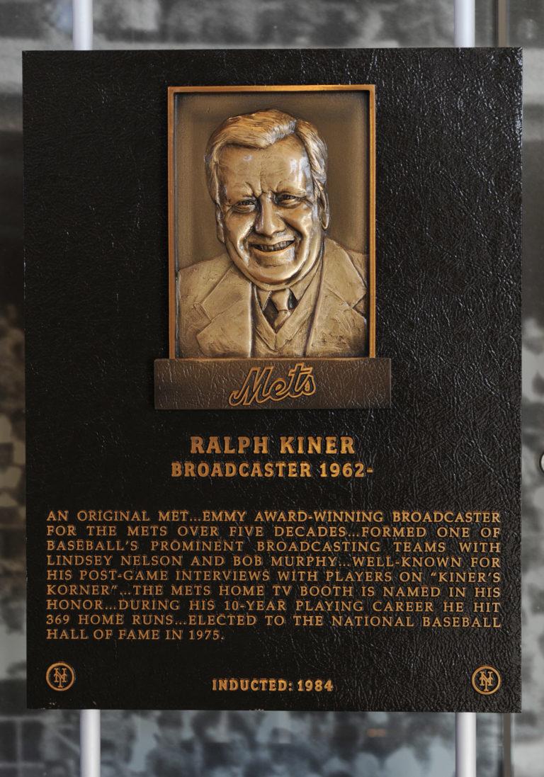 Ralph Kiner Mets Hall of Fame Plaque