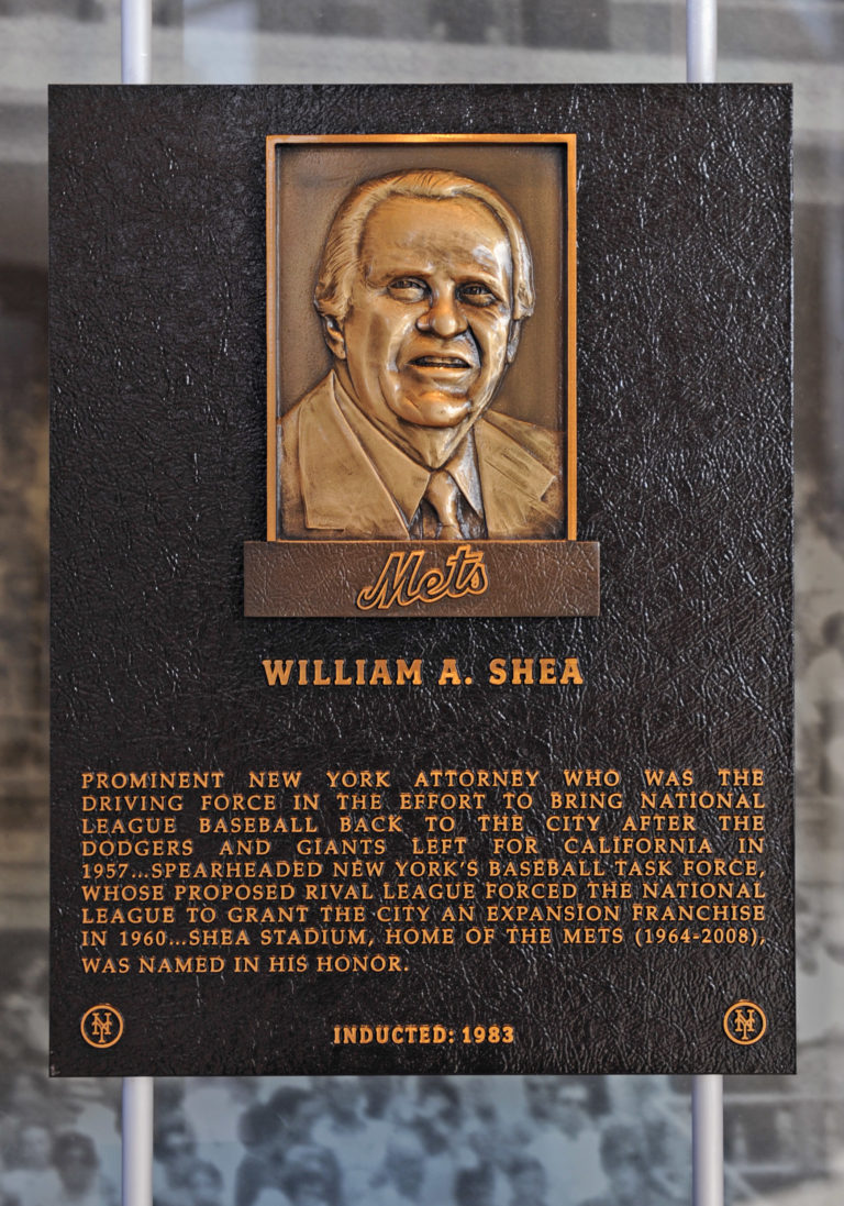 William Shea Mets Hall of Fame Plaque