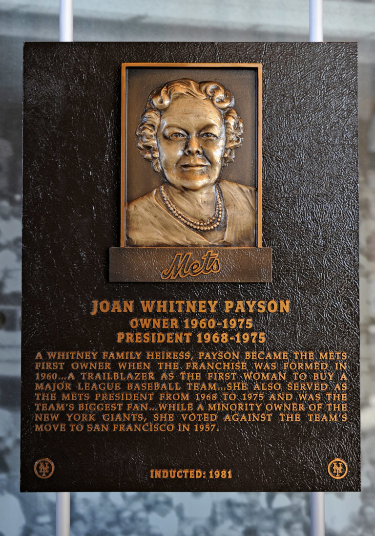 Joan Whitney Payson Mets Hall of Fame Plaque