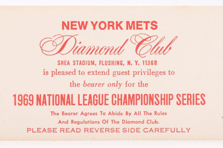 New York Mets 1969 NLCS Diamond Club Ticket