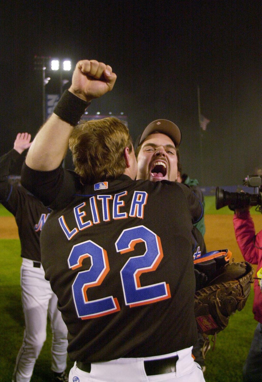 Mike Piazza's Cheers as Al Leiter Hugs Him