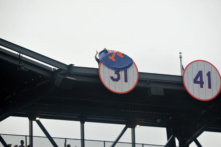 New York Mets Reveal Mike Piazza's Number 31 above Citi Field Upper Deck