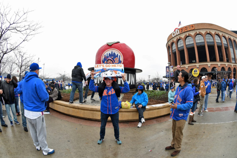 Mets Fans in Front of Home Run Apple at Citi Field