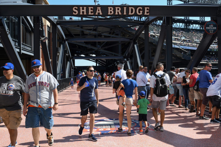 Photo of Shea Bridge in Citi Field with Fans Crossing