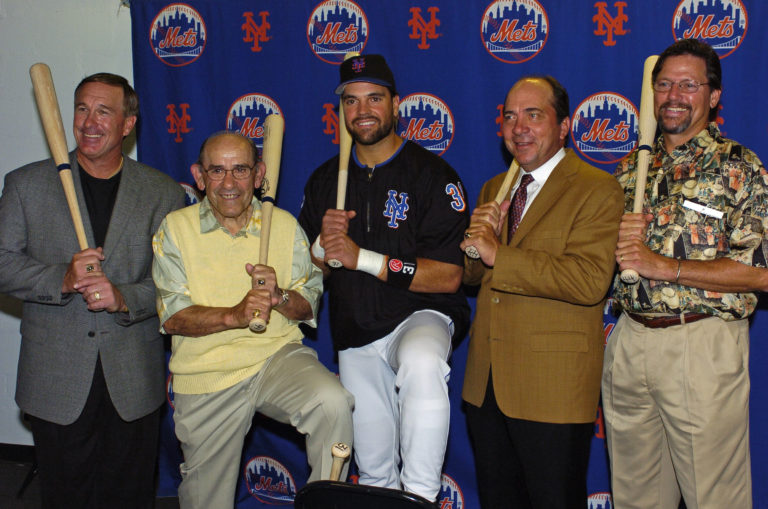 Mike Piazza Posing with Carlton Fisk, Gary Carter, Johnny Bench and Yogi Berra