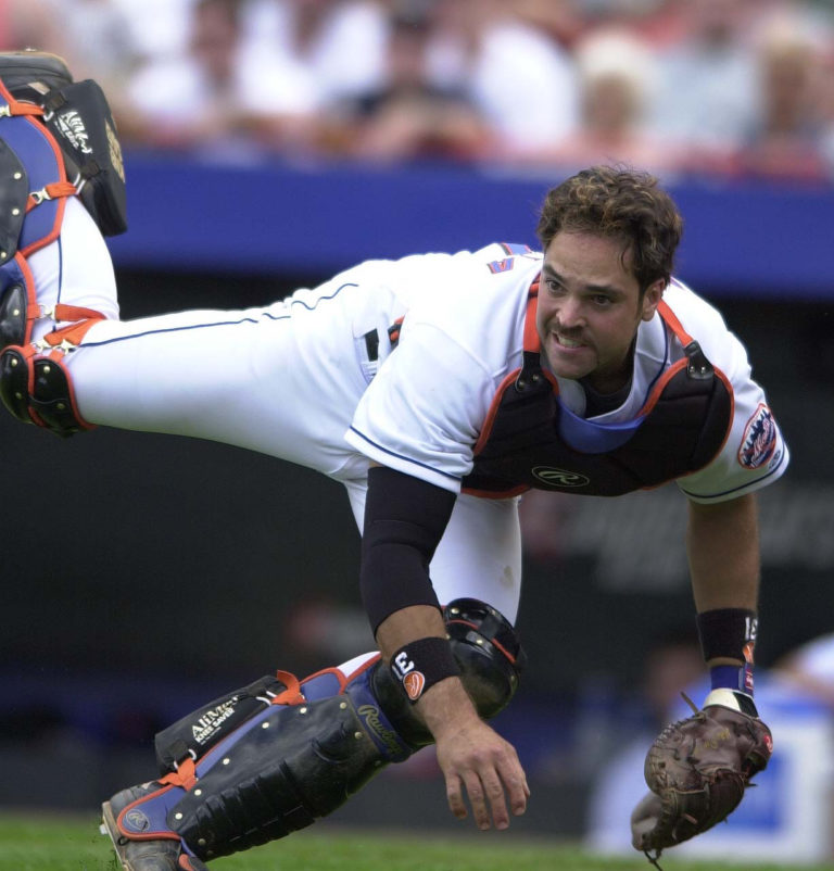 Action Shot of Mike Piazza Playing Defense