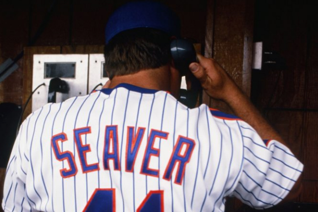 Tom Seaver Takes Call During Old-Timers Day