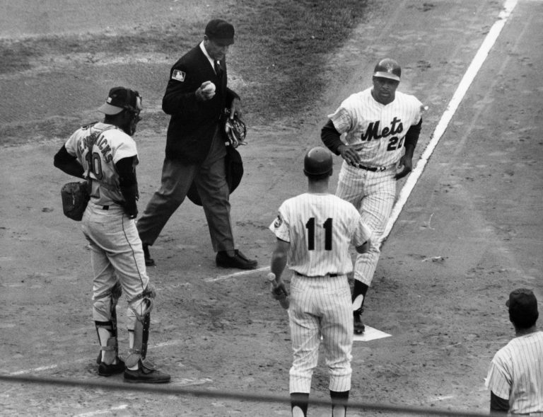 Wayne Garrett Greets Tommie Agee at Home Plate