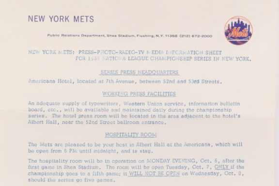 Press Information Sheet for 1969 NLCS in NYC
