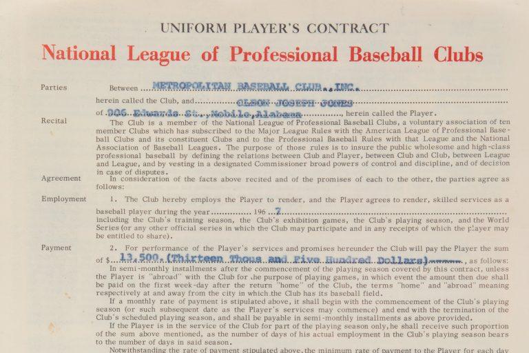 Cleon Jones 1967 Contract with New York Mets