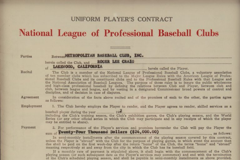 Roger Craig Contract with the New York Mets in Frame