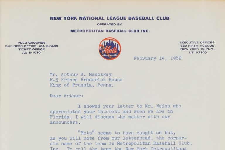 A typed document from Mets Public Relations Discussing the Corporate Name of the Mets - Metropolitan Baseball Club