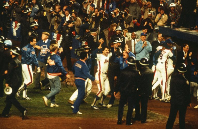 Keith Hernandez in Middle of Celebration After Winning 1986 World Series