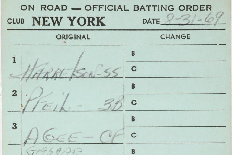 New York Mets Lineup Card vs. San Francisco Giants in 1969