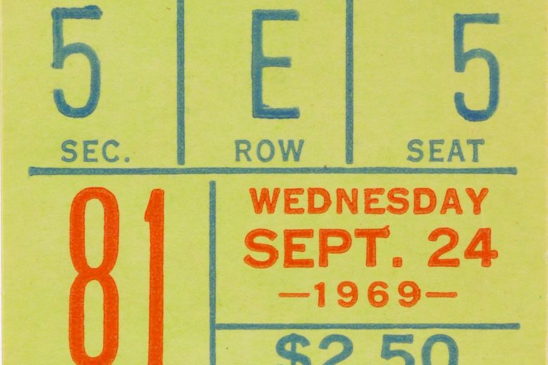 Ticket When Mets Clinched NL East in 1969