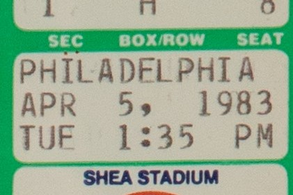 Ticket from Tom Seaver's Return to the Mets in 1983