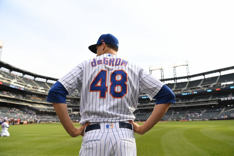 Jacob deGrom During Warmups in 2019