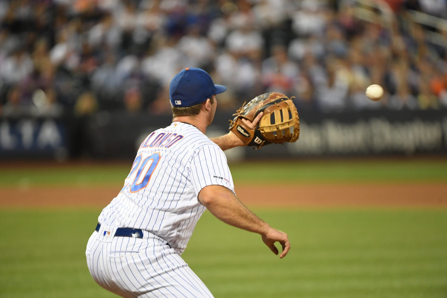 Pete Alonso Fielding a Ball at First Base